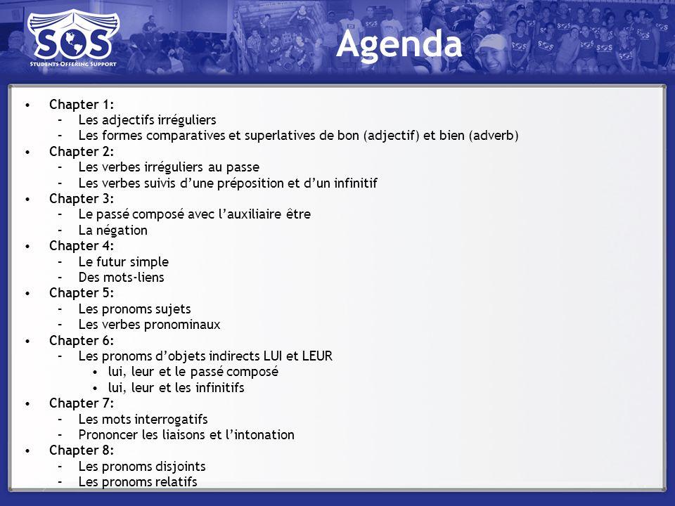 Agenda Chapter 1: Les adjectifs irréguliers