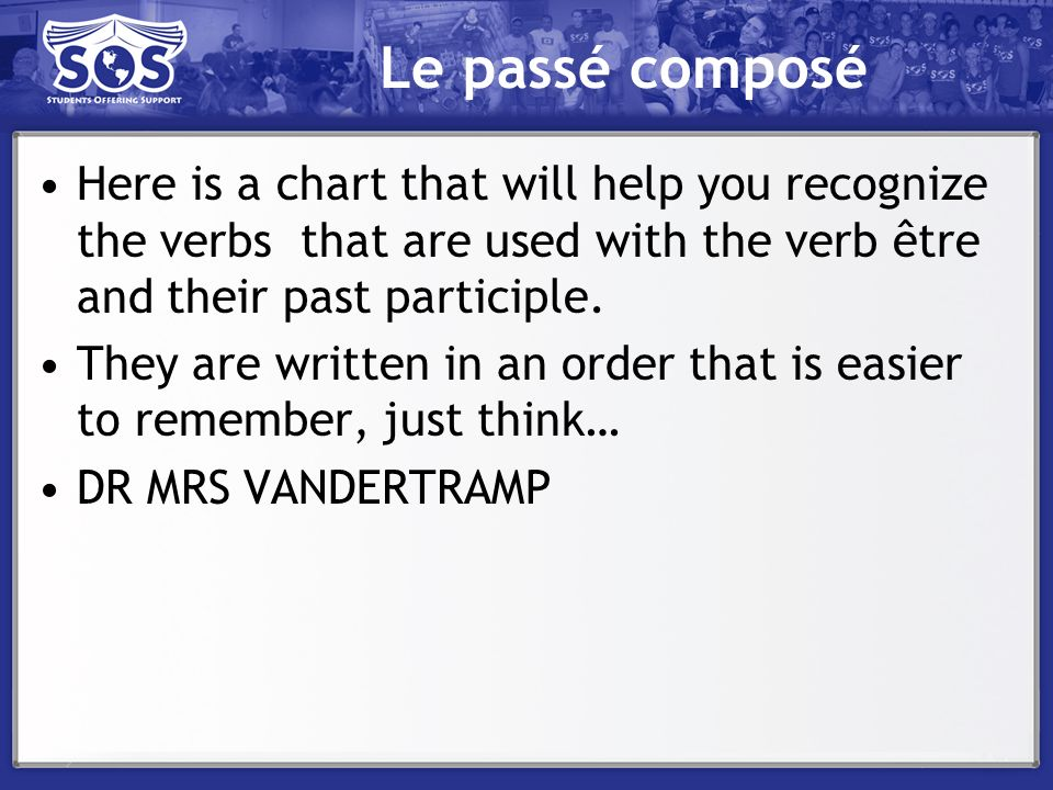 Le passé composé Here is a chart that will help you recognize the verbs that are used with the verb être and their past participle.