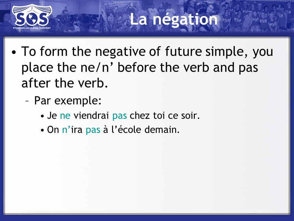La négation To form the negative of future simple, you place the ne/n' before the verb and pas after the verb.
