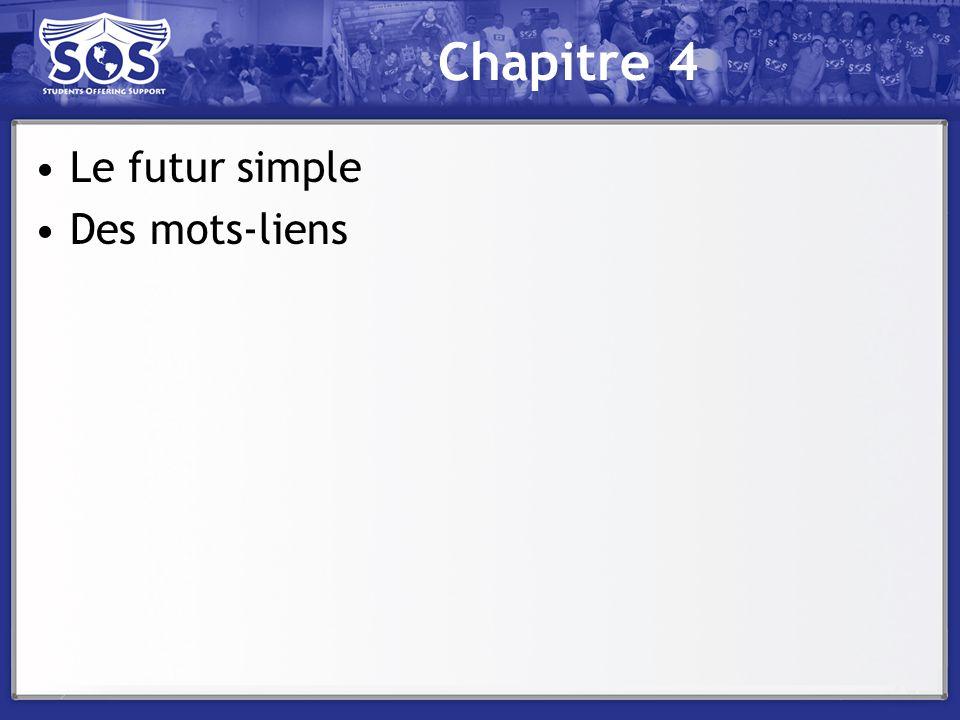Chapitre 4 Le futur simple Des mots-liens