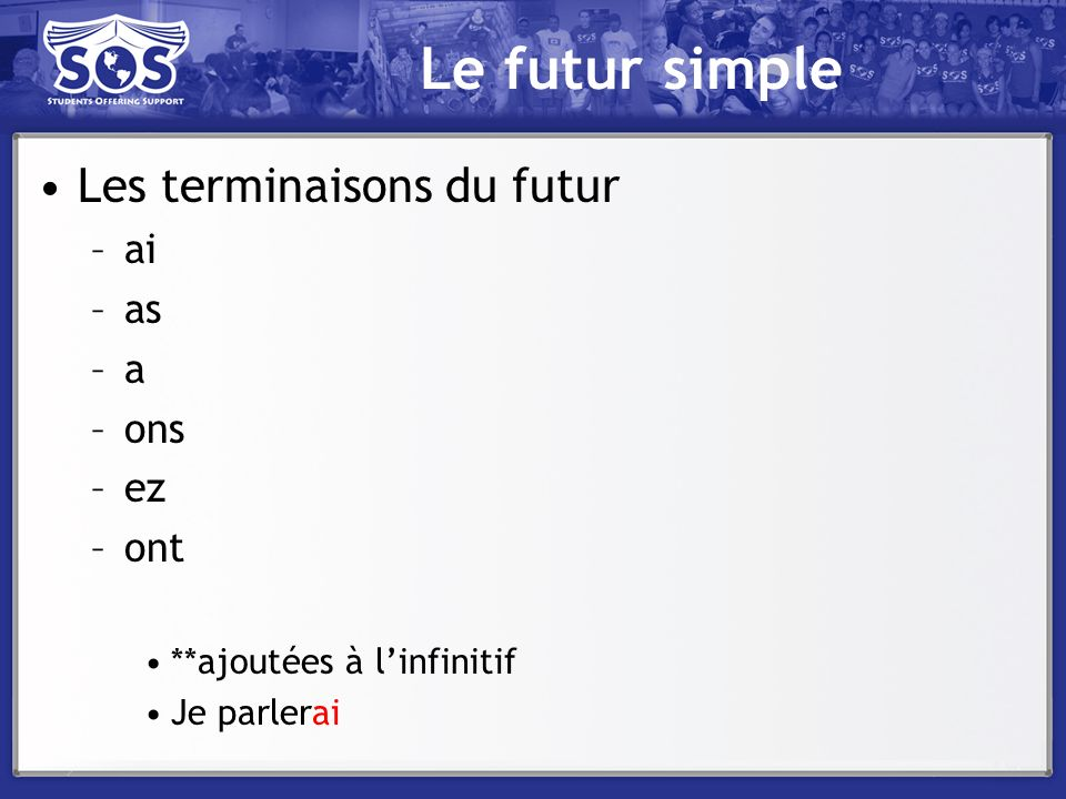 Le futur simple Les terminaisons du futur ai as a ons ez ont