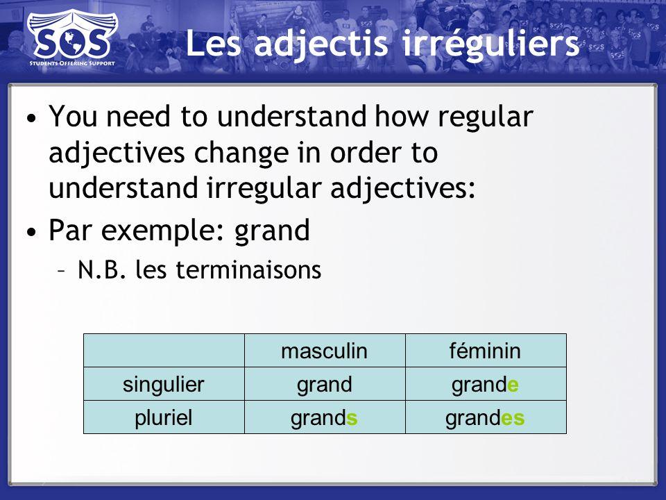 Les adjectis irréguliers