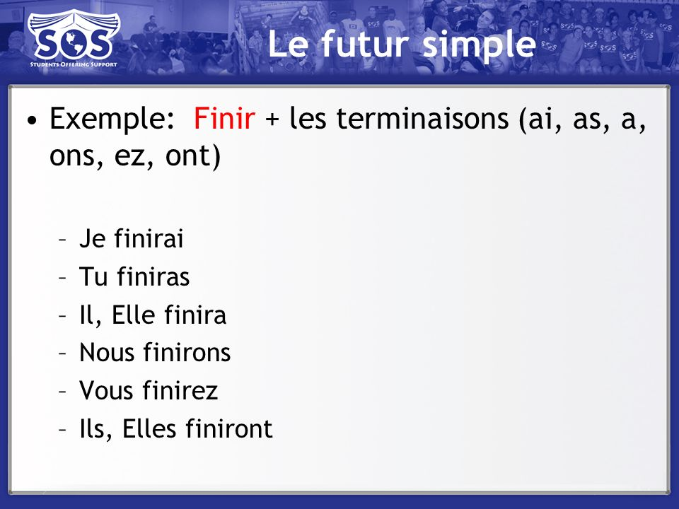 Le futur simple Exemple: Finir + les terminaisons (ai, as, a, ons, ez, ont) Je finirai. Tu finiras.