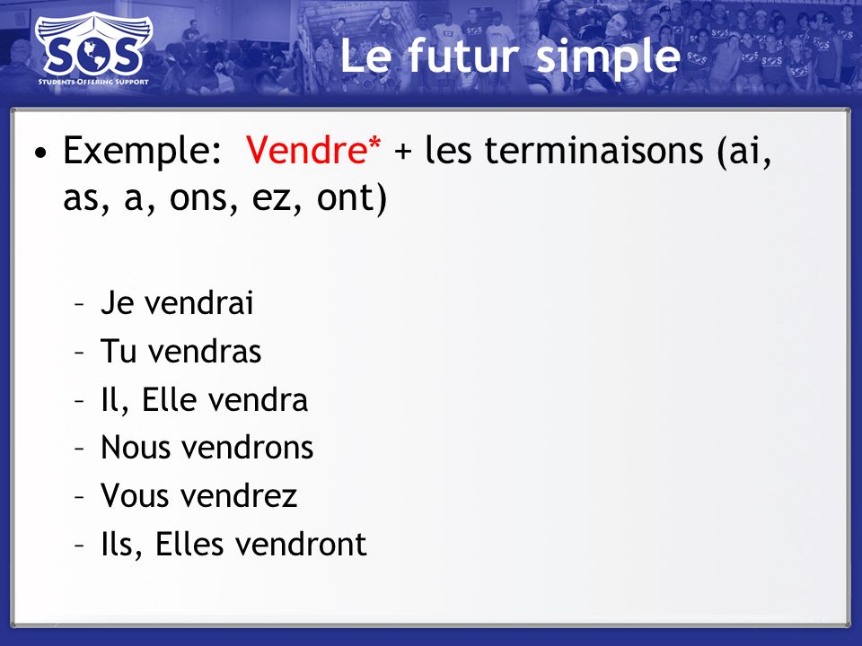 Le futur simple Exemple: Vendre* + les terminaisons (ai, as, a, ons, ez, ont) Je vendrai. Tu vendras.