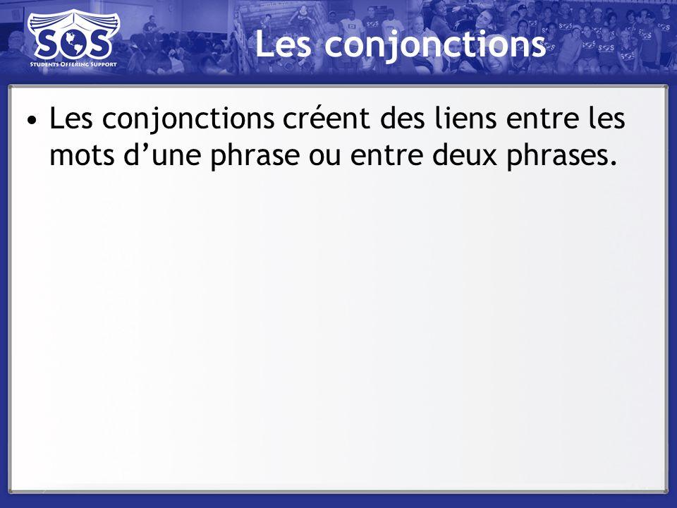 Les conjonctions Les conjonctions créent des liens entre les mots d'une phrase ou entre deux phrases.