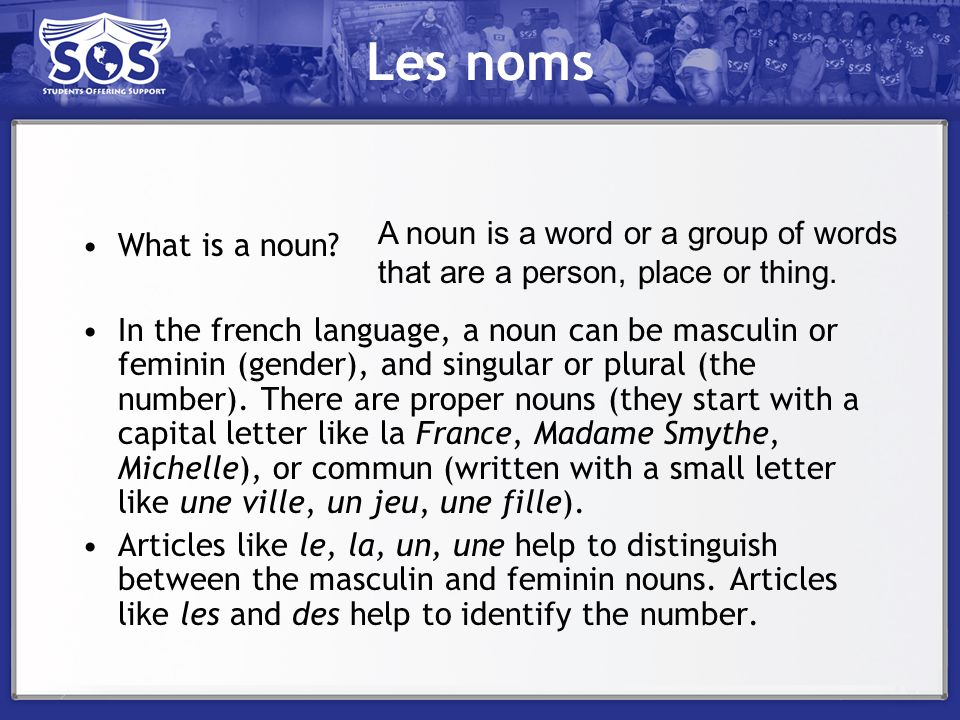 Les noms A noun is a word or a group of words that are a person, place or thing. What is a noun