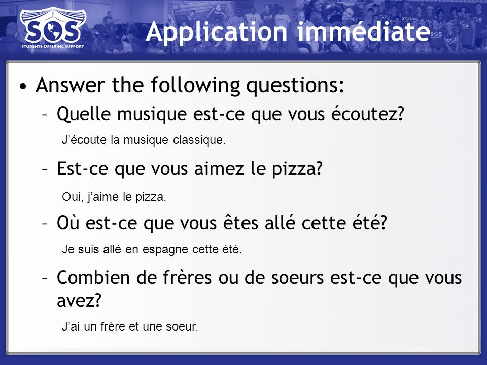 Application immédiate