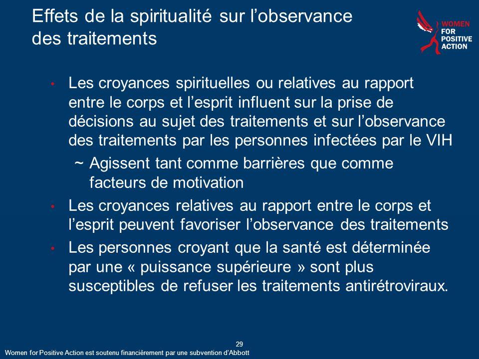 Effets de la spiritualité sur l'observance des traitements