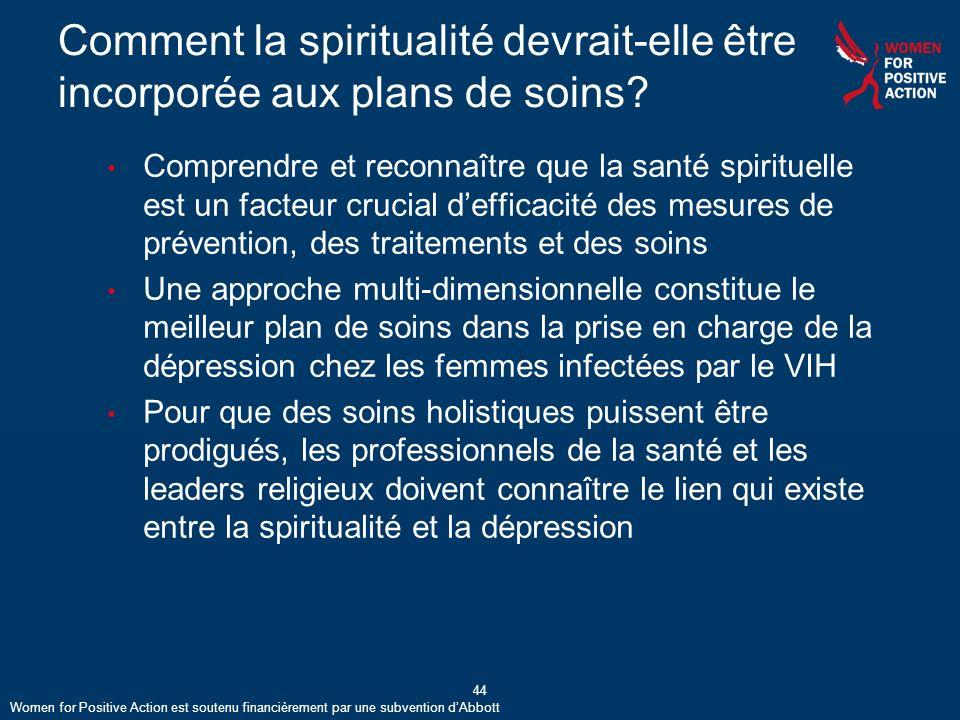 Comment la spiritualité devrait-elle être incorporée aux plans de soins