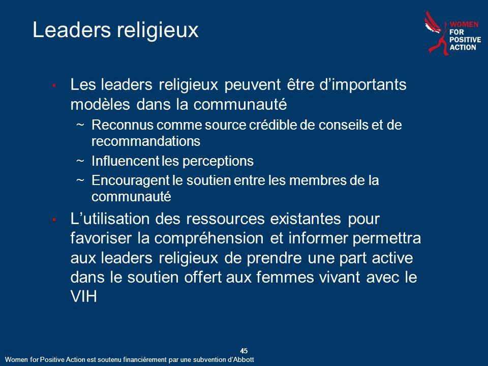 Leaders religieux Les leaders religieux peuvent être d'importants modèles dans la communauté.