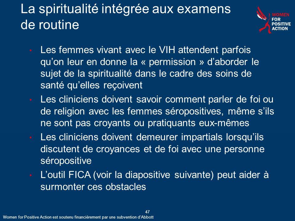 La spiritualité intégrée aux examens de routine