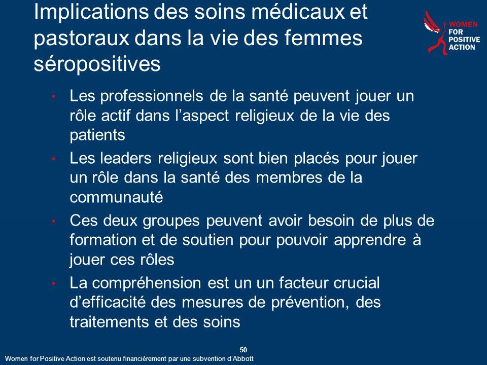 Implications des soins médicaux et pastoraux dans la vie des femmes séropositives