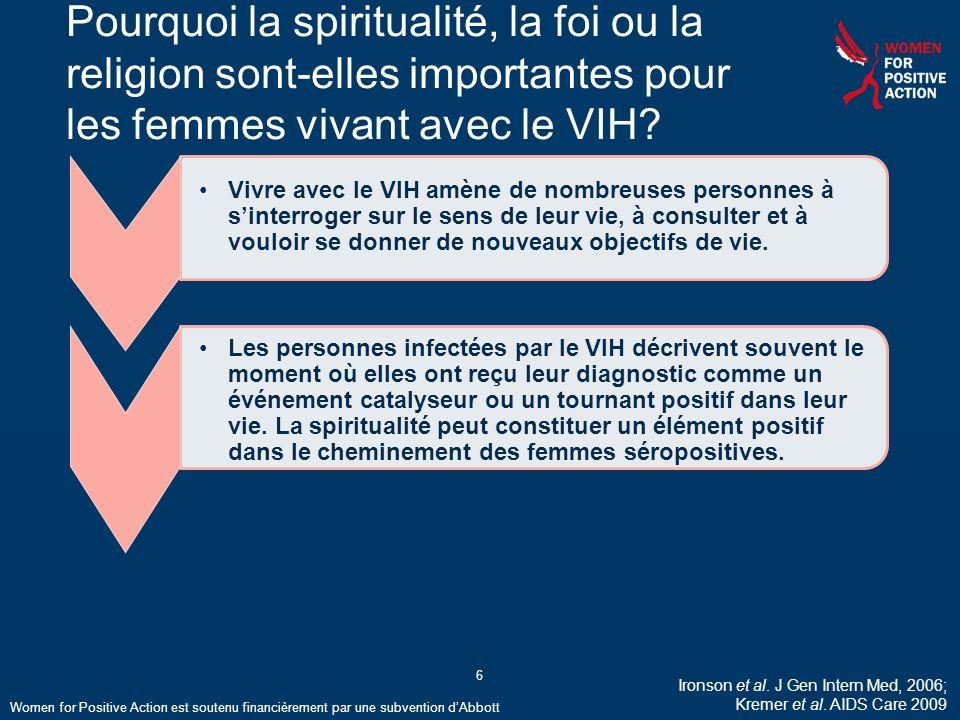 Pourquoi la spiritualité, la foi ou la religion sont-elles importantes pour les femmes vivant avec le VIH