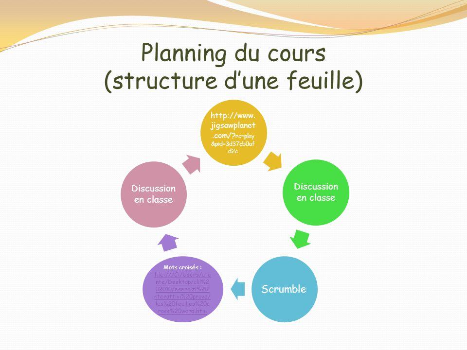 Planning du cours (structure d'une feuille)