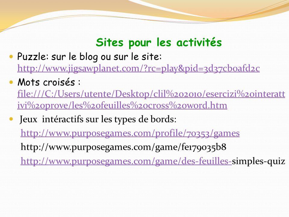Sites pour les activités