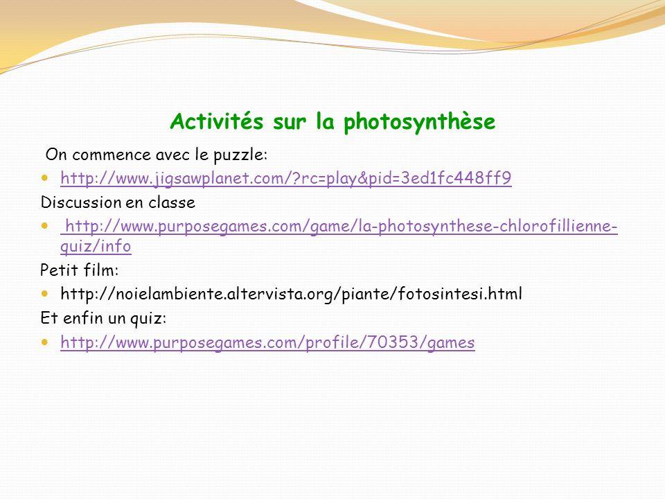 Activités sur la photosynthèse