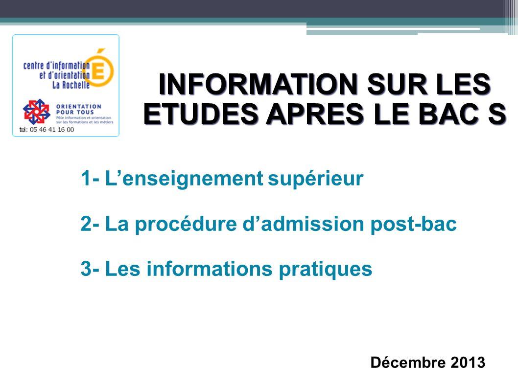 INFORMATION SUR LES ETUDES APRES LE BAC S