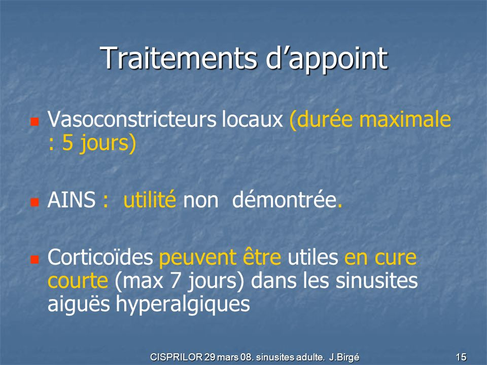 Traitements d'appoint