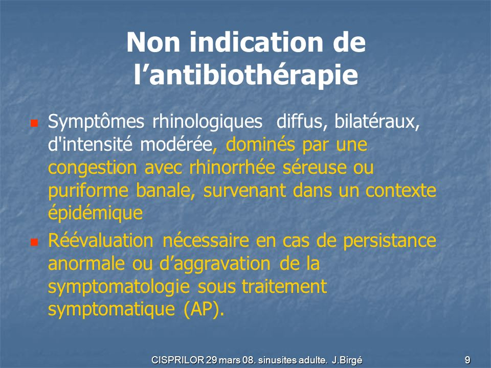 Non indication de l'antibiothérapie