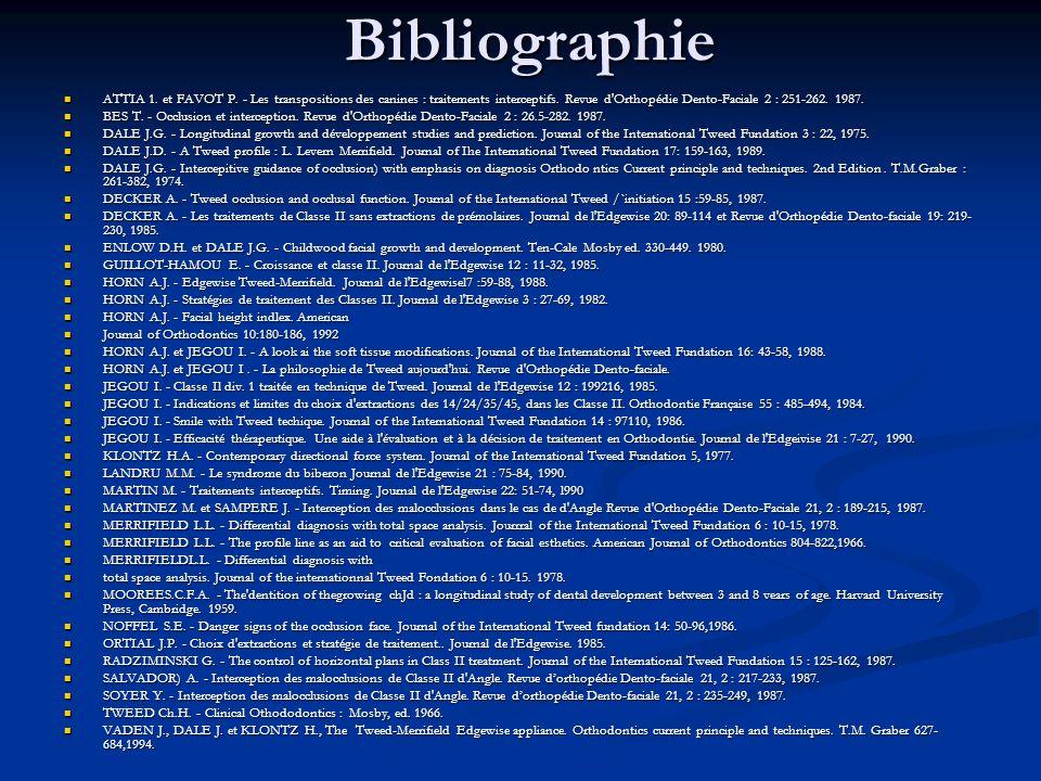Bibliographie ATTIA 1. et FAVOT P. - Les transpositions des canines : traitements interceptifs. Revue d Orthopédie Dento-Faciale 2 : 251-262. 1987.