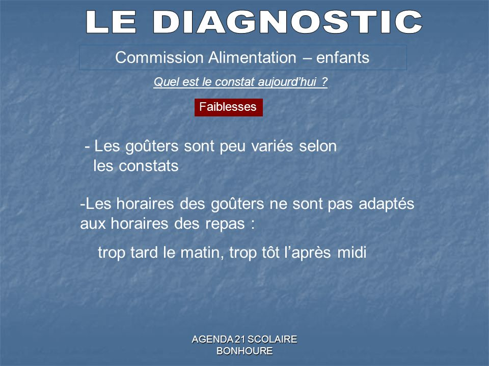 LE DIAGNOSTIC Commission Alimentation – enfants