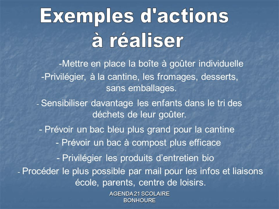 Exemples d actions à réaliser