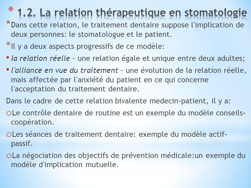 1.2. La relation thérapeutique en stomatologie