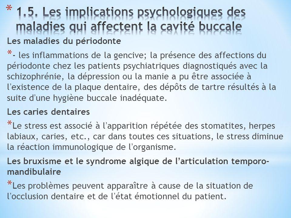1.5. Les implications psychologiques des maladies qui affectent la cavité buccale