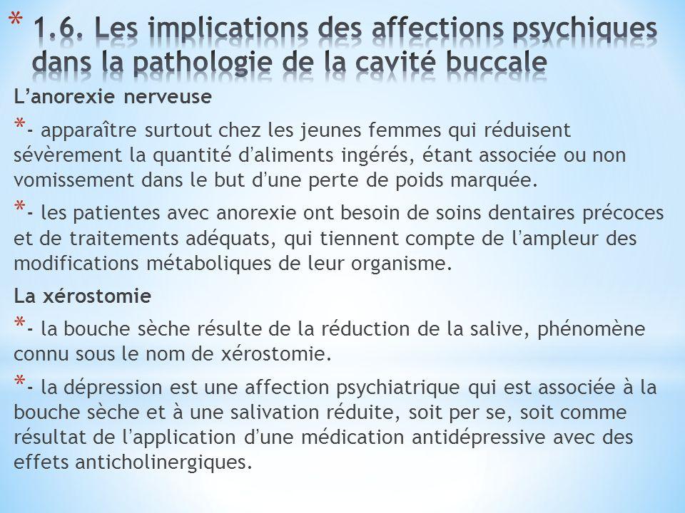 1.6. Les implications des affections psychiques dans la pathologie de la cavité buccale