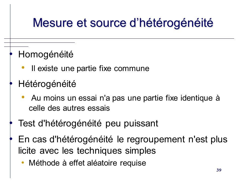 Mesure et source d'hétérogénéité