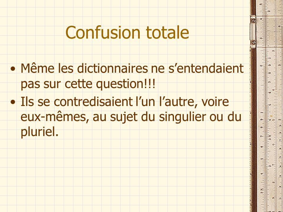 Confusion totale Même les dictionnaires ne s'entendaient pas sur cette question!!!