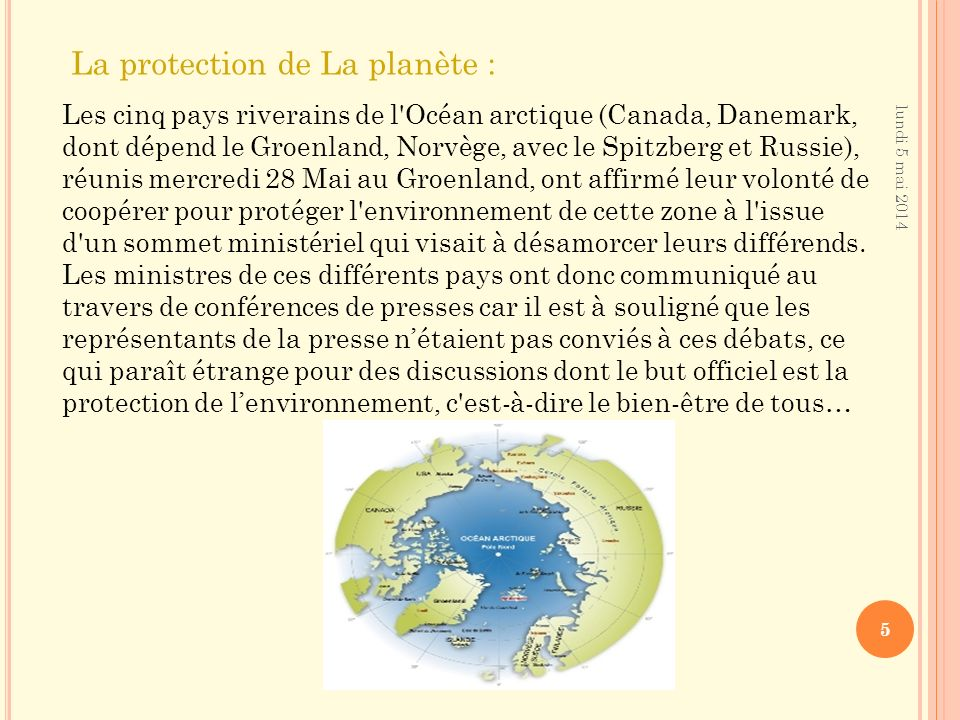 La protection de La planète :