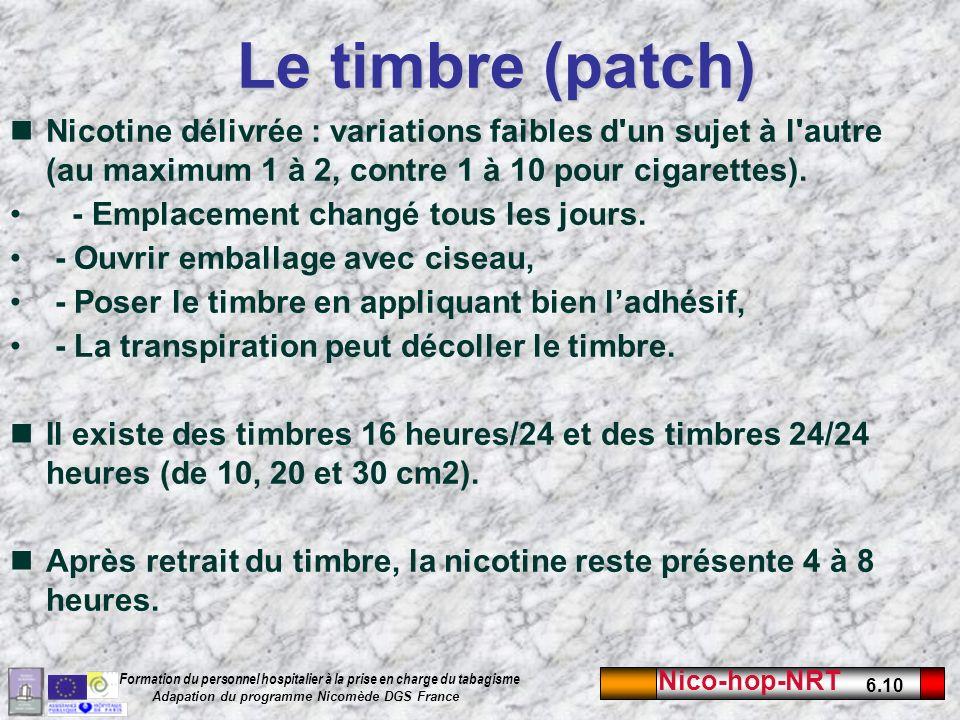 Le timbre (patch) Nicotine délivrée : variations faibles d un sujet à l autre (au maximum 1 à 2, contre 1 à 10 pour cigarettes).