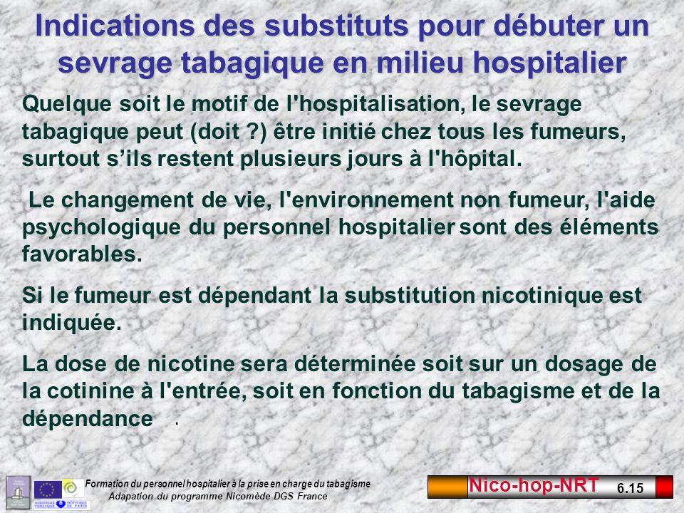 Indications des substituts pour débuter un sevrage tabagique en milieu hospitalier