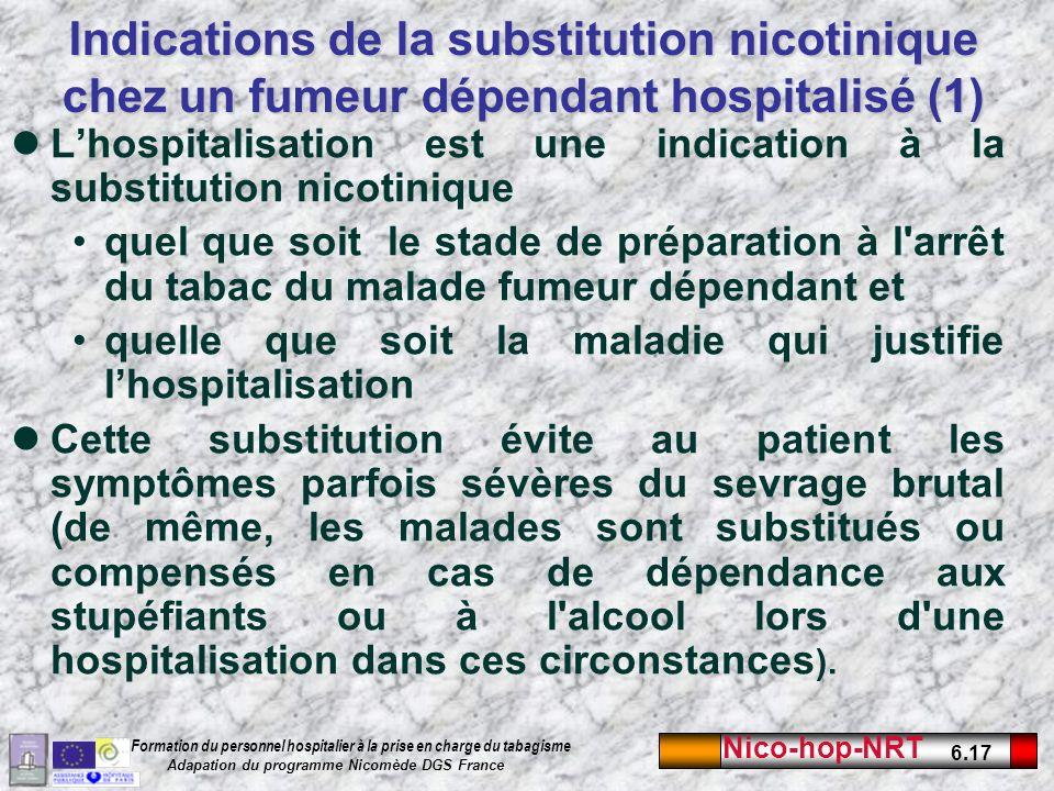 Indications de la substitution nicotinique chez un fumeur dépendant hospitalisé (1)