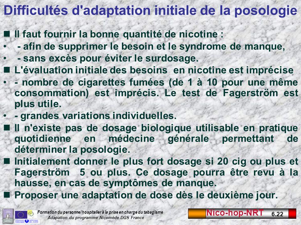 Difficultés d adaptation initiale de la posologie