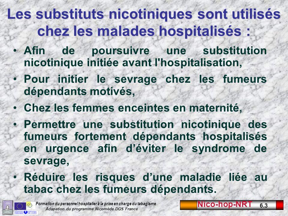 Les substituts nicotiniques sont utilisés chez les malades hospitalisés :