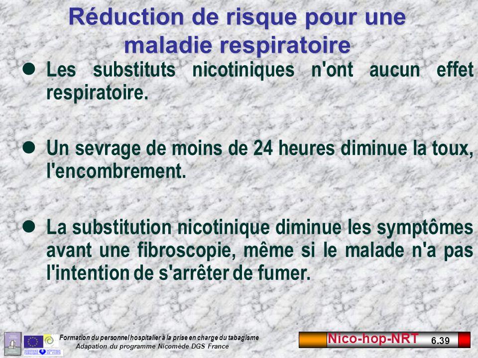 Réduction de risque pour une maladie respiratoire
