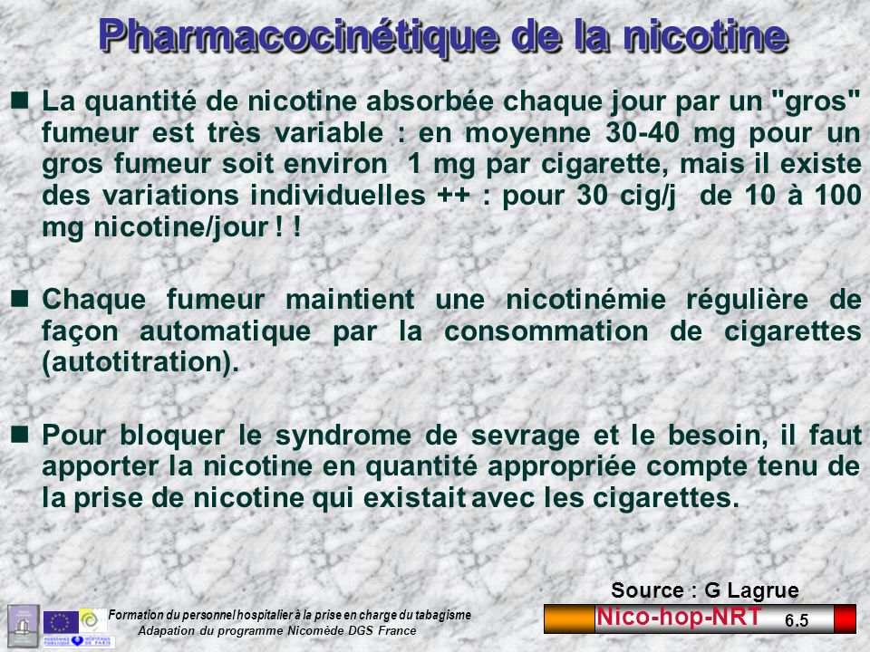 Pharmacocinétique de la nicotine