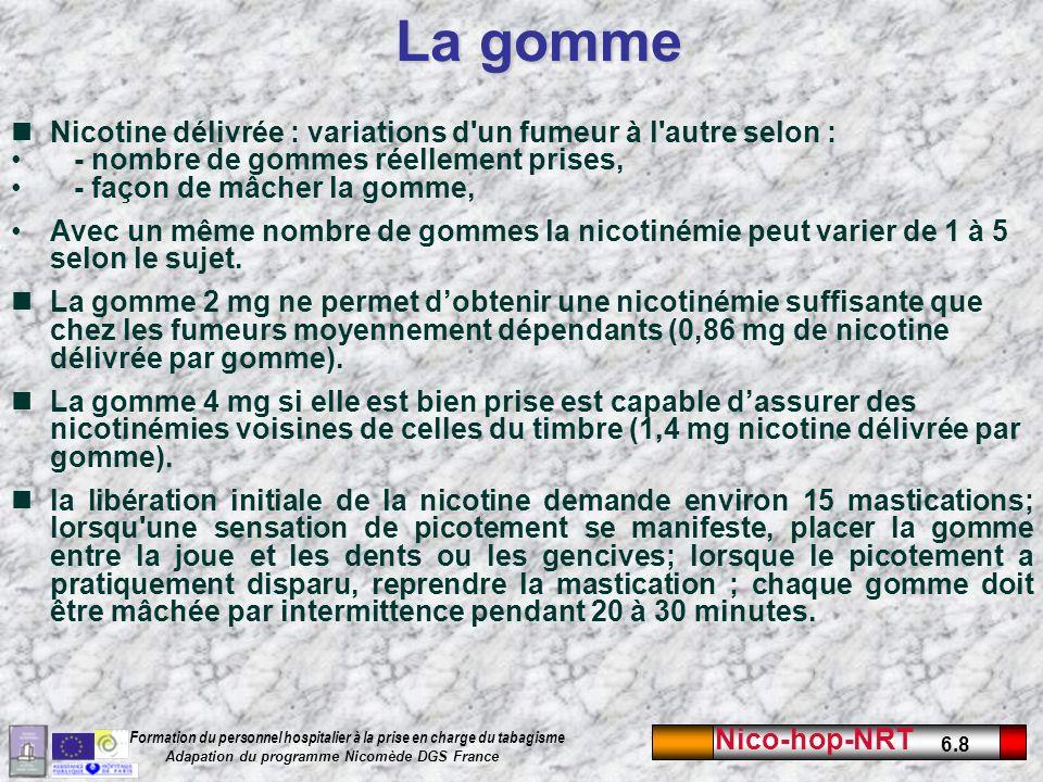 La gomme Nicotine délivrée : variations d un fumeur à l autre selon :
