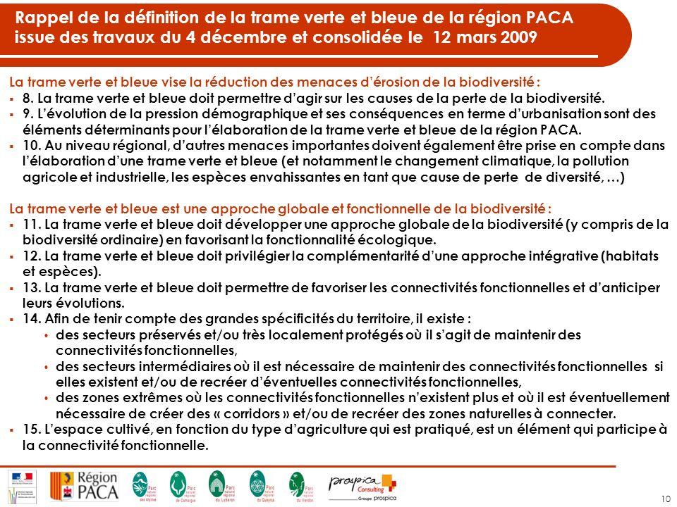 Rappel de la définition de la trame verte et bleue de la région PACA issue des travaux du 4 décembre et consolidée le 12 mars 2009