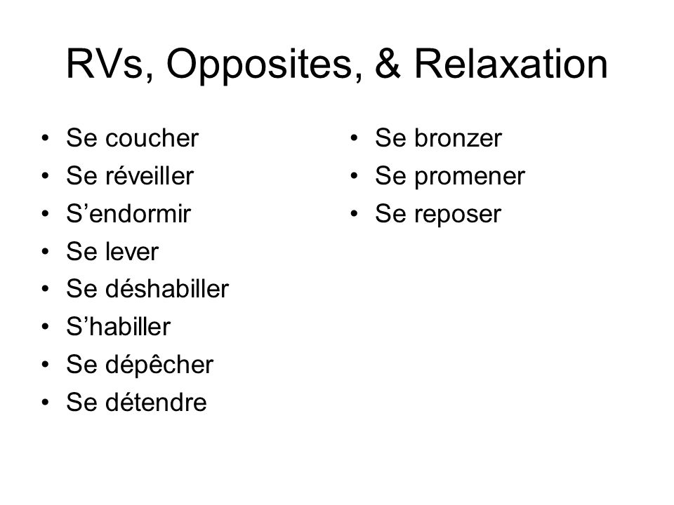 RVs, Opposites, & Relaxation