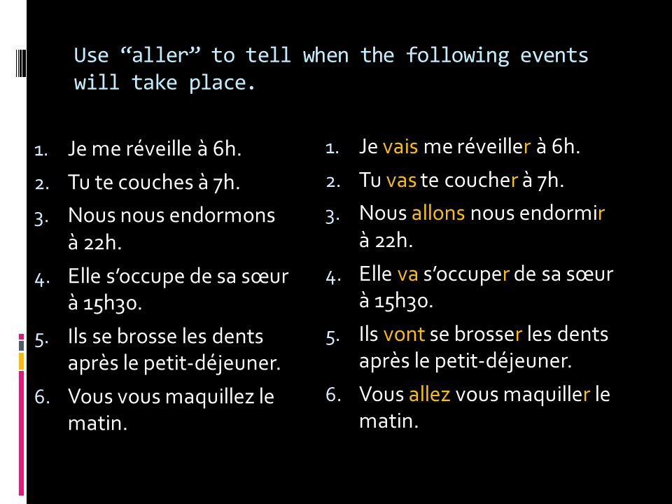 Use aller to tell when the following events will take place.