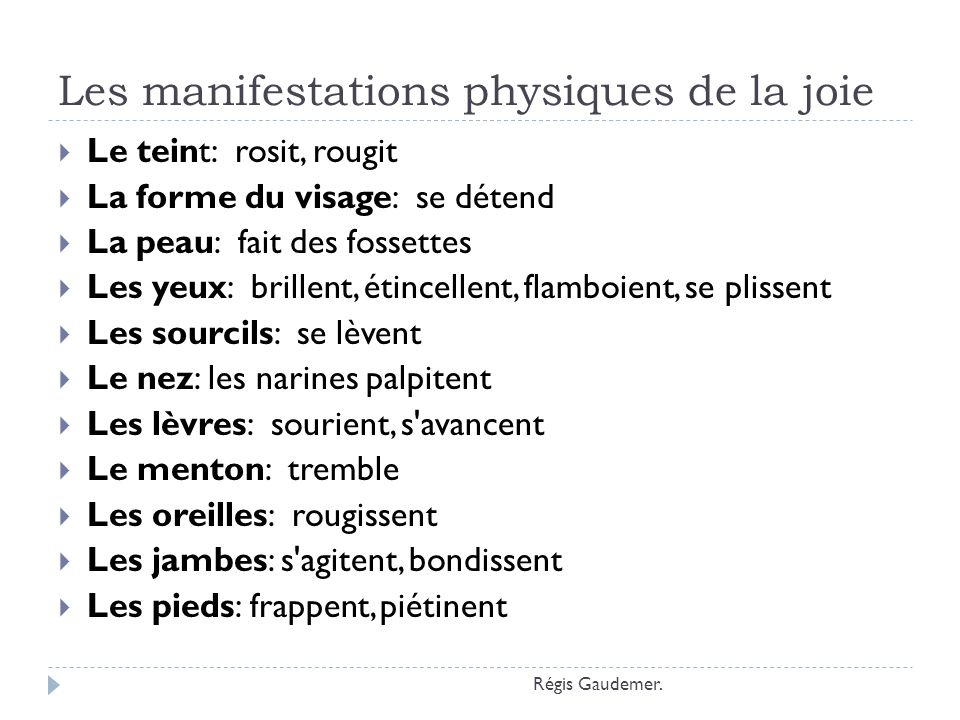 Les manifestations physiques de la joie