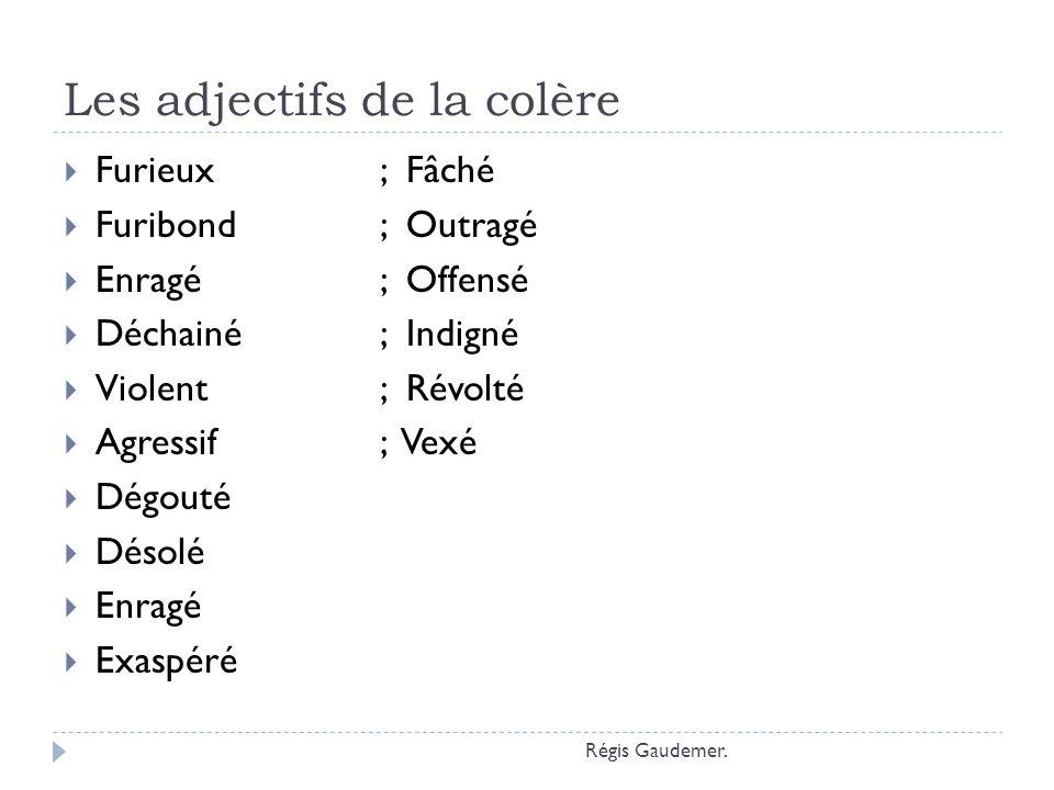 Les adjectifs de la colère