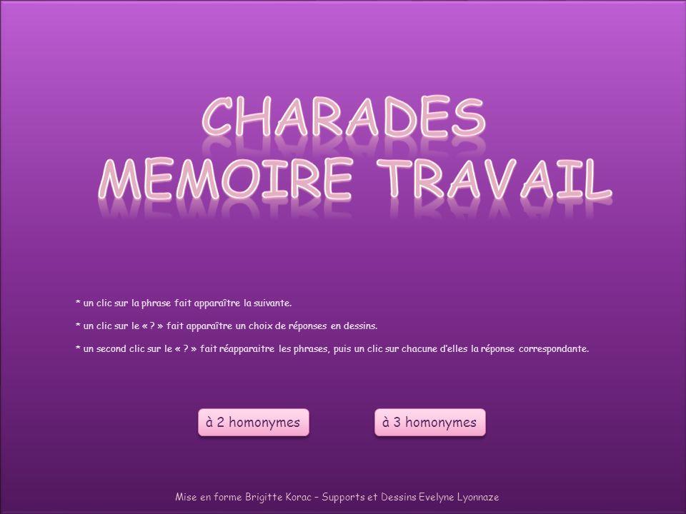 CHARADES MEMOIRE TRAVAIL