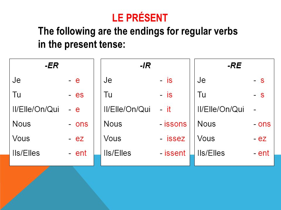 The following are the endings for regular verbs in the present tense: