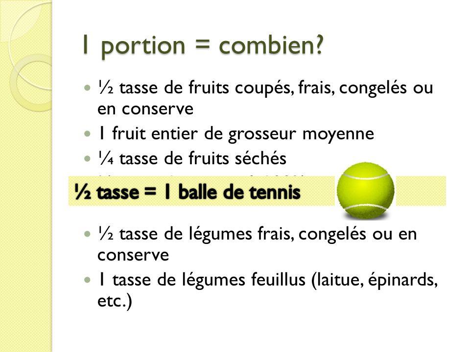 1 portion = combien ½ tasse = 1 balle de tennis