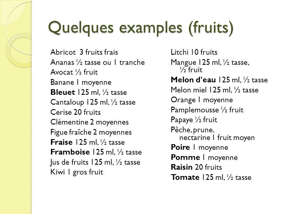Quelques examples (fruits)