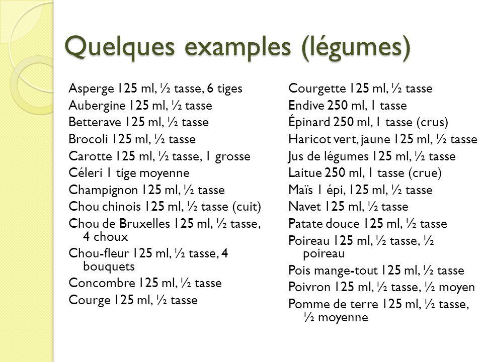 Quelques examples (légumes)